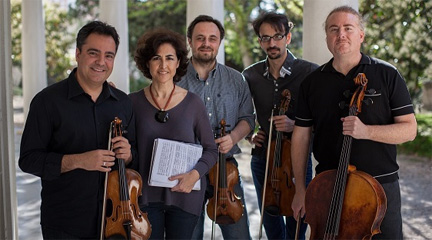 Rosa Torres-Pardo junto al Cuarteto Bretón