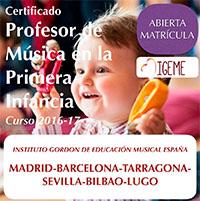 Certificado de Profesor de Música en la Primera Infancia