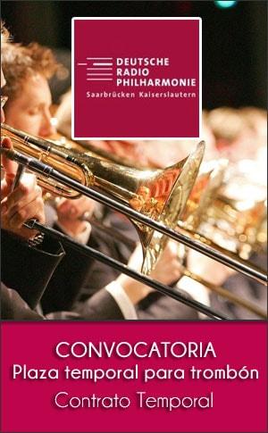 Deutsche Radio Philharmonie Saarbrücken Kaiserslautern convoca una plaza temporal para trombón