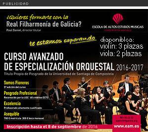 Curso Avanzado de Especialización Orquestal con la Real Filarmonía de Galicia