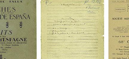 (1ª edición de Noches en los jardines de España, portada manuscrito XLIX A7 y programa estreno en París versión dos pianos)