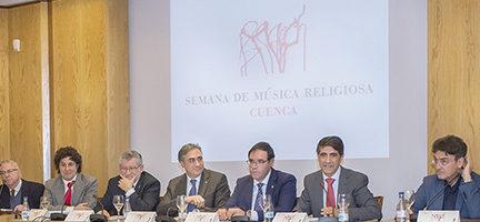 Cristóbal Soler y otras personalidades durante la presentación del acto en Madrid. Cortesía SMR