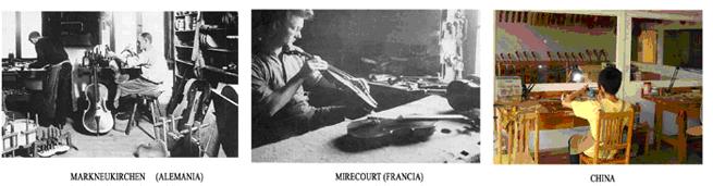 lutheria  Los grandes talleres de producción artesanal: de Europa a China