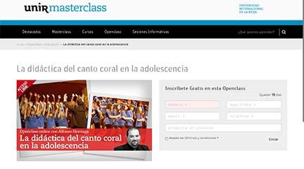 cursos  Clase abierta online La didáctica del canto coral en la adolescencia de la UNIR