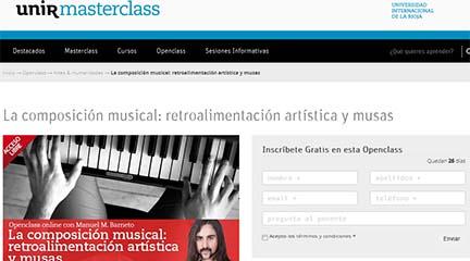 universidad  Clase abierta online, La composición musical: retroalimentación artística y musas