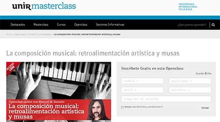 cursos  Clase abierta online La composición musical: retroalimentación artística y musas