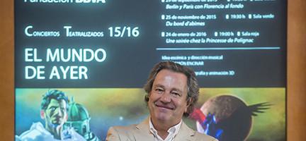José Ramón Encinar durante la presentación del concierto. Cortesía FBBVA