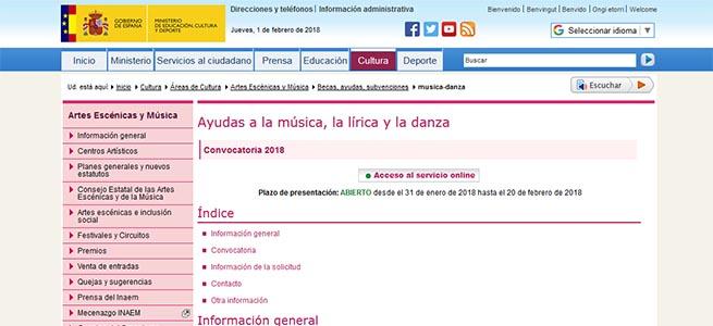 pruebas de acceso Convocatoria de ayudas a la danza, la lírica y la música del INAEM
