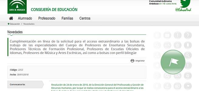 pruebas de acceso  Bolsa de empleo de la Junta de Andalucía para Fundamentos de composición, Lenguaje musical, Orquesta y Trompa