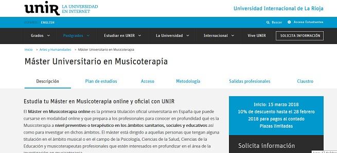 universidad  Últimas plazas para Máster Universitario en Musicoterapia