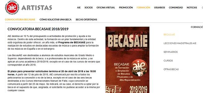 becas  Convocatoria BECASAIE 2018/2019
