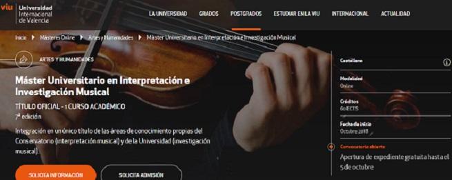 universidad  Máster Universitario en Interpretación e Investigación Musical de la Universidad Internacional de Valencia