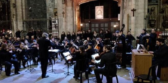 actualidad de centros  Estudiantes de del departamento de Música Antigua de la ESMUC y el grupo Dichos Diabolos en la Basílica de Santa María del Pi