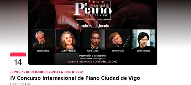 convocatorias concursos  La IV edición del Concurso Internacional de Piano Ciudad de Vigo se llevará a cabo vía online